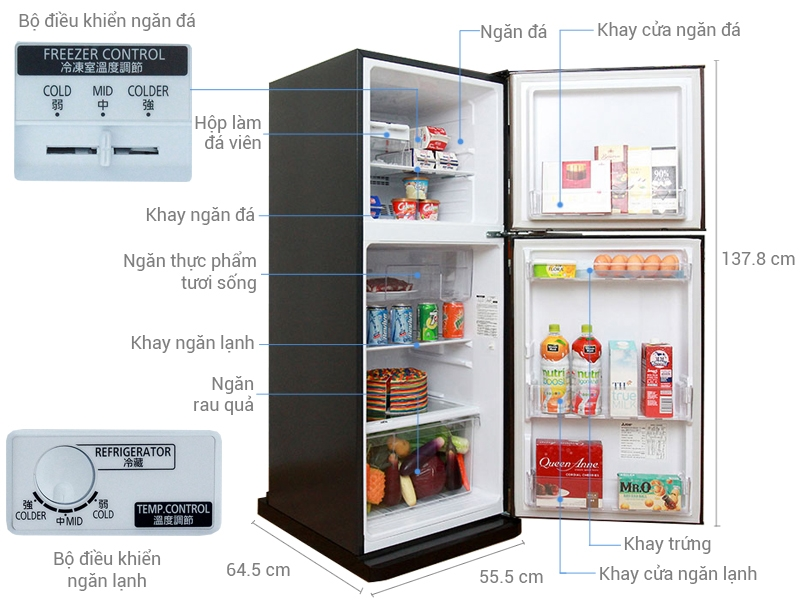 Tủ lạnh Mitsubishi MR-FV24J-BR
